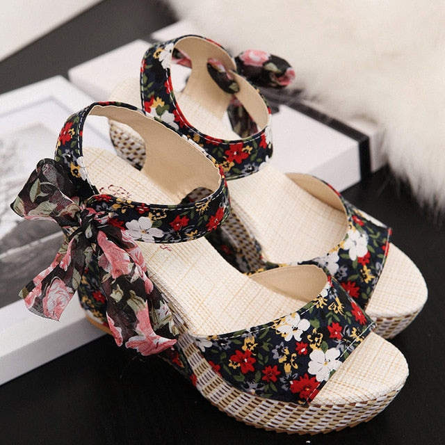 Summer Women Wedges Sandals Boho Shoes Ladies Ankle Strap Floral Bowknot Platform Peep Toe Fashion Sandalias Lady Footwear - iregalijoy.com