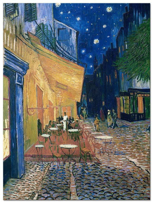 Terrace at Night Canvas Prints Wall Art by Van Gogh Classic Oil Paintings Reproduction Large Gallery Wrapped Cityscape Picture Giclée Artwork for Dining Room Home Office Decorations 24x32 inches - iregalijoy.com