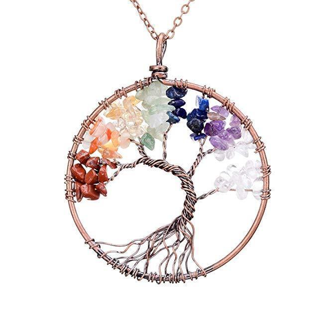 Tree of Life Pendant Amethyst Rose Crystal Necklace Gemstone Chakra Jewelry - iregalijoy.com