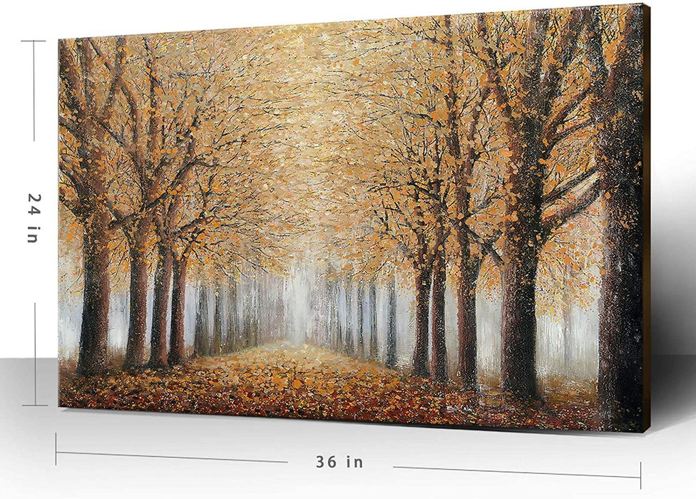 "ree Wall Art for Living Room Hand-Painted Forest Oil Painting Framed Yellow Grove Artwork Autumn Landscape Canvas Print for Living Room Bedroom Home Decorations Wall Decor Large 36""x24 - iregalijoy.com"