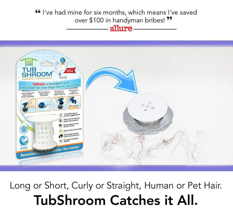 TubShroom The Revolutionary Tub Drain Protector Hair Catcher/Strainer/Snare, White - iregalijoy.com