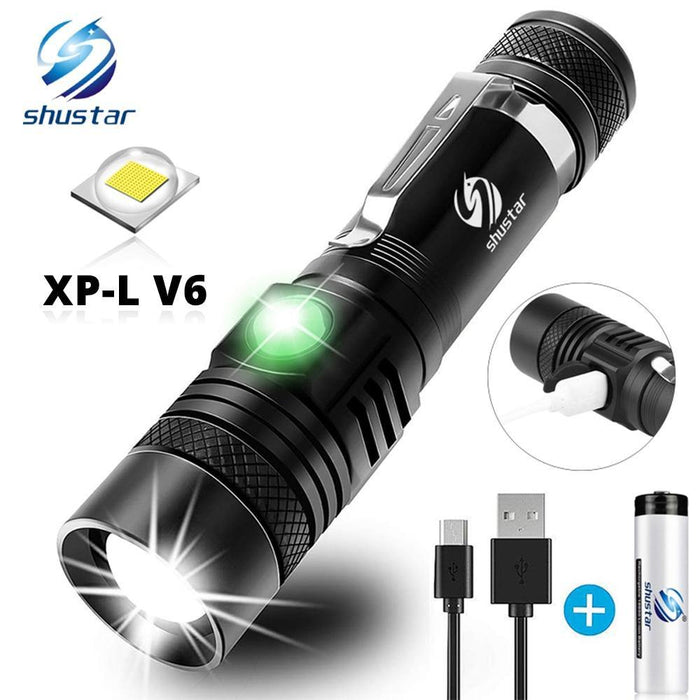Ultra Bright LED Flashlight With XP-L V6 LED lamp beads Waterproof Torch Zoomable 4 lighting modes Multi-function USB charging - iregalijoy.com