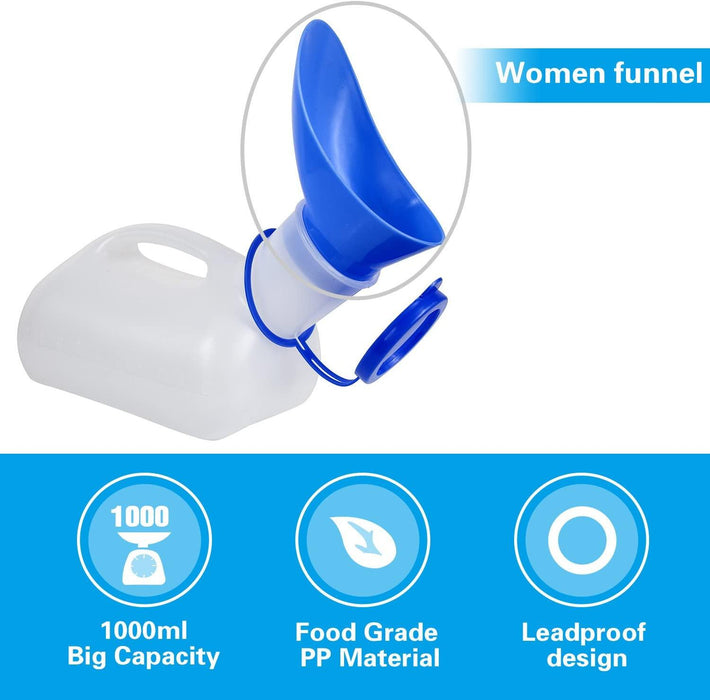 Unisex Potty Urinal for Car, Toliet Urinal for Men and Women, Bedpans Pee Bottle, With a Lid and Funnel - iregali