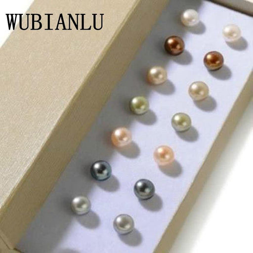 WUBIANLU New Fashion 7 Sets 8mm Multicolor Cultured Pearl Shell Stud Earrings For Women Jewelry Design Wholesale And Retail - iregali