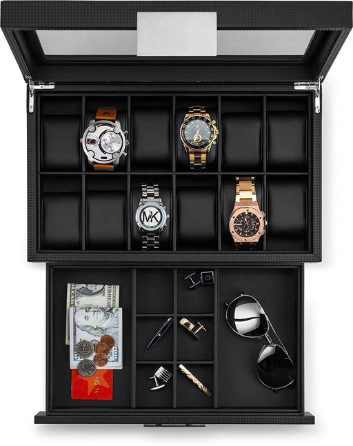 Watch Box with Valet Drawer for Men - 12 Slot Luxury Watch Case Display Organizer - iregalijoy.com