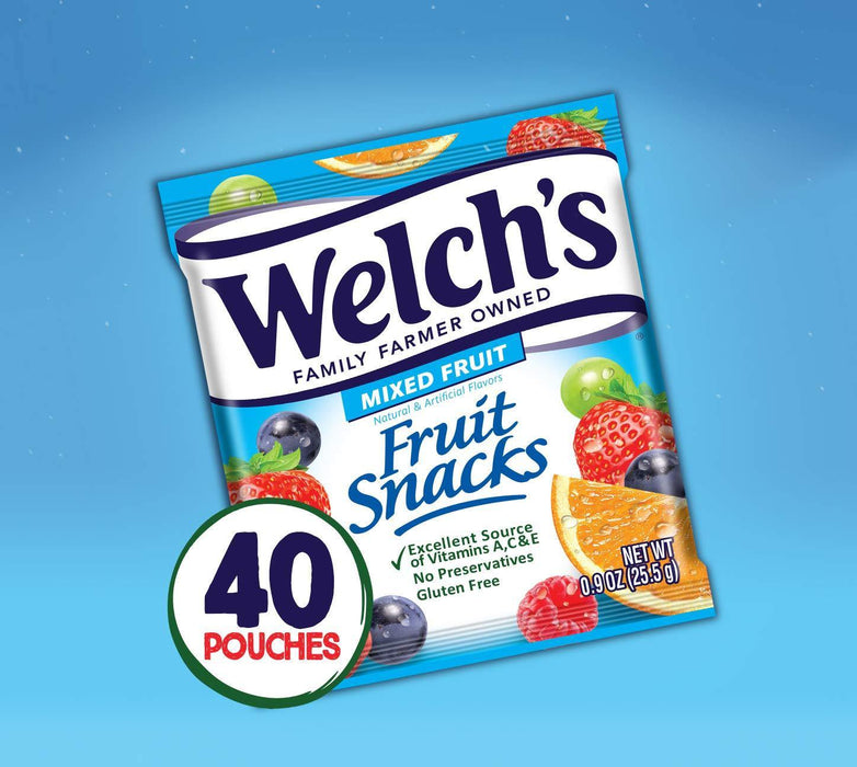 Welch's Fruit Snacks, Mixed Fruit, Gluten Free, Bulk Pack, 0.9 oz Individual Single Serve Bags (Pack of 40) - iregalijoy.com