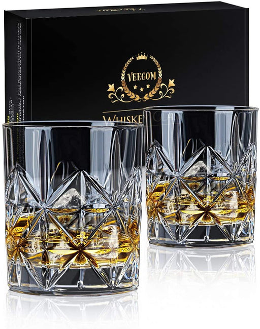 Whiskey Glass Set of 2 or 4, 10 oz Crystal Whiskey Glasses Thick Bottom Bourbon Glasses Old Fashioned - iregalijoy.com