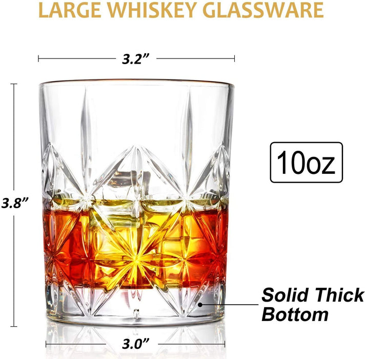 Whiskey Glass Set of 2, 10 oz Crystal Whiskey Glasses Thick Bottom Bourbon Glasses Old Fashioned - iregali