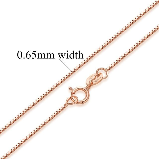 Women 100% Authentic Solid 925 Sterling Silver Box Chain Necklace Rose Gold Color 1/0.8/0.65 mm - iregalijoy.com