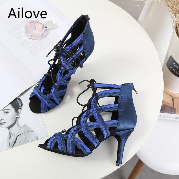 Women Ballroom Latin Dance Boots Lady`s Salsa Professional Dancing Shoes Lace-up Social Danc Sandals Multiple Heel Height S014 - iregali
