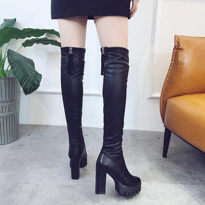 Women Black Over The Knee Boots Platform High Heel Leather Thigh High Boots Women 2020 Winter Ladies Long Shoes 2 Style - iregalijoy.com