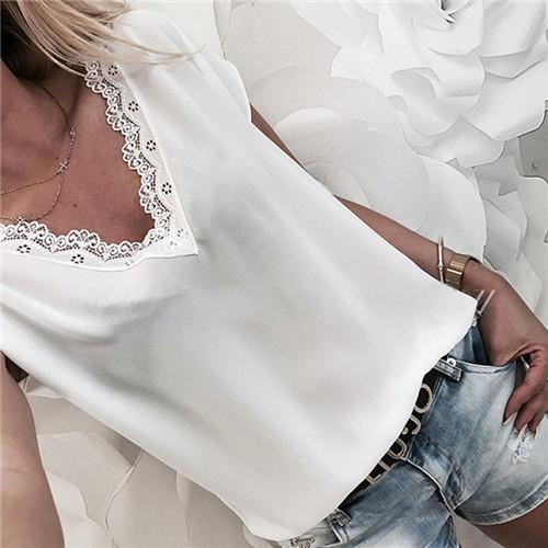 Women Blouse Tops Summer Top Casual Loose Short Sleeve Solid Lace V-neck Chiffon Blouses Female Shirts Vest Blusa Plus Size - iregalijoy.com
