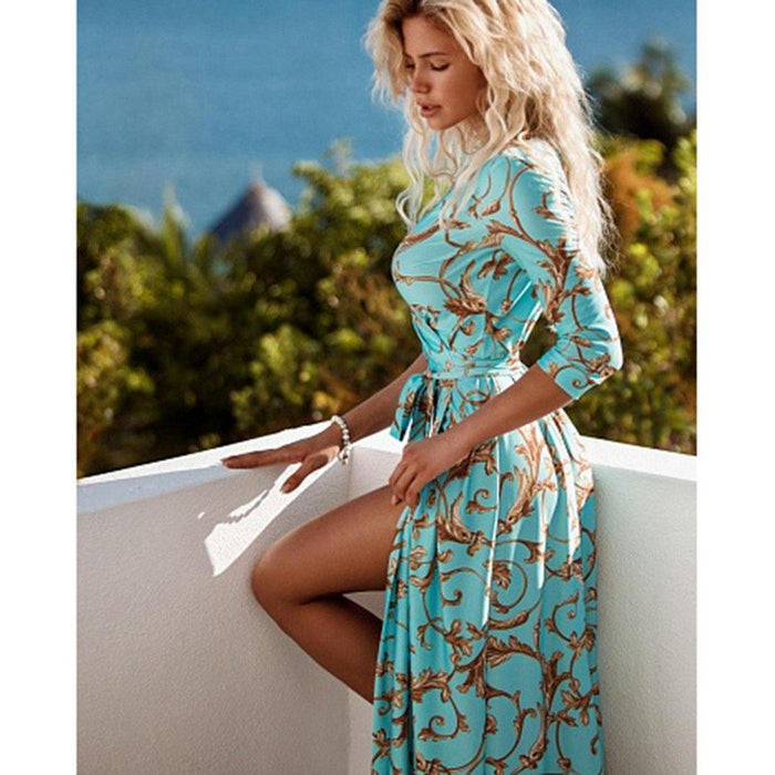Women Floral Print Maxi Dresses Bohemian Half Sleeve V Neck Lace Up Dress Ladies Summer Split Beach Dresses - iregalijoy.com