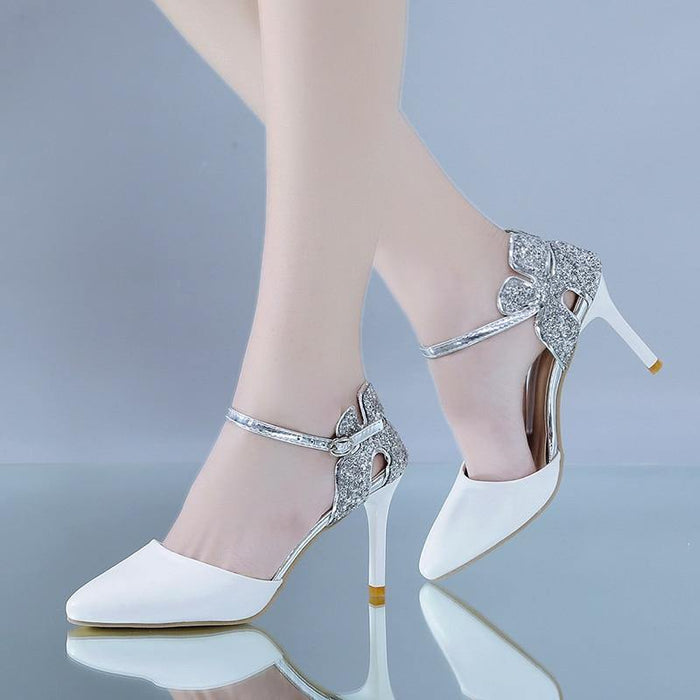 Women Hollow Out Ankle Strap Party Shoes Woman Pointed Toe Stiletto Heel Sandals Dropshipping  Silver Glitter High Heels Pumps - iregali