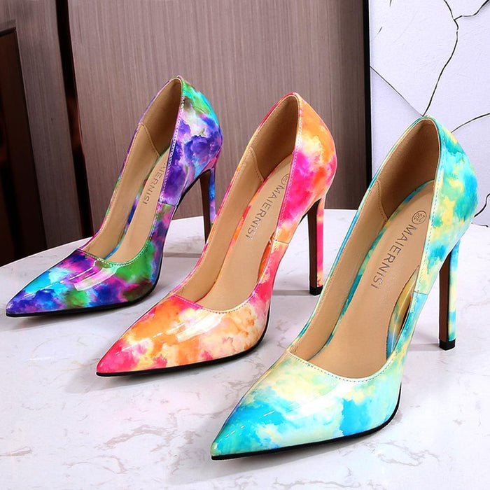 Women Pumps Colorful Graffiti Heeled Shoes Fashion Patent Leather Pointed Toe Stiletto High Heels 11cm Female Shoes Big Size46 - iregalijoy.com