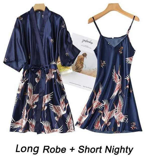 Women Rayon 2PCS Robe Set Bride Bridesmaid Wedding Robe Gown Lace Sexy Kimono Bathrobe Night Dress Casual Nightgown Sleepwear - iregalijoy.com