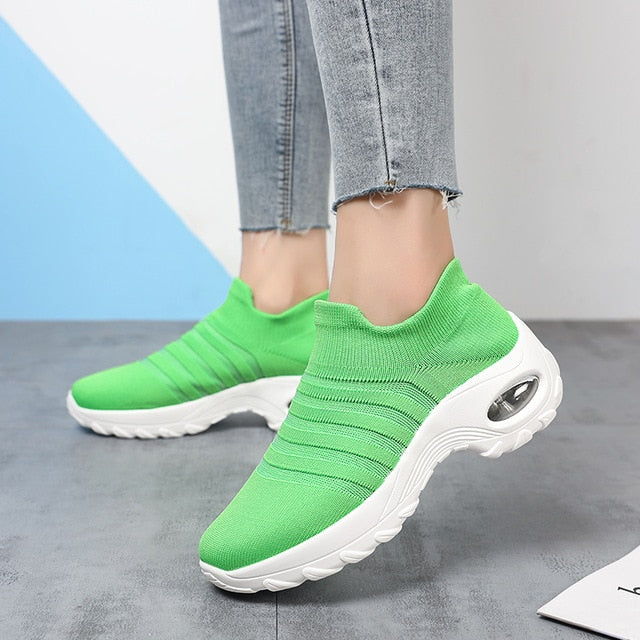 Women's sneakers  Summer Shoes Women Non Slip Platform Sneakers Fashion Mesh Socks For Wide Loafers Walking Shoes - iregalijoy.com