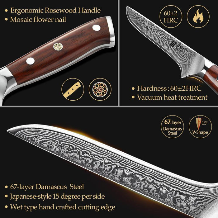"6"" inch Boning Fish Knife vg10 Damascus Steel Lasting Sharp Kitchen Knives Rosewood Handle New Ham Knife Kitchen Tools - iregalijoy.com"