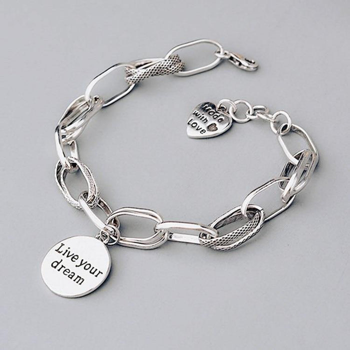 925 Sterling Silver Korean Love Pendant Bracelet Retro Thai Silver Thick Chain Round Letter Bracelet Female Jewelry - iregalijoy.com