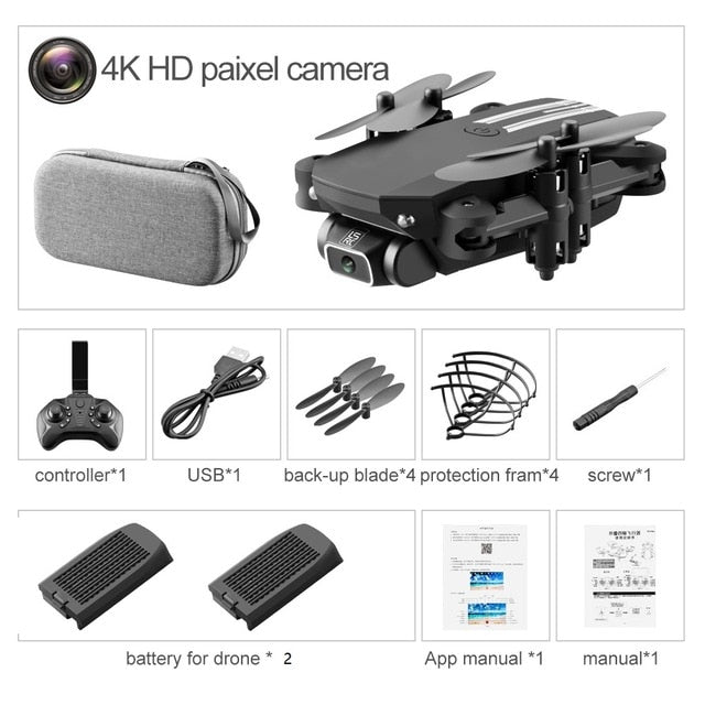 XKJ 2020 New Mini Drone 4K 1080P HD Camera WiFi Fpv Air Pressure Altitude Hold Black And Gray Foldable Quadcopter RC Drone Toy - iregali