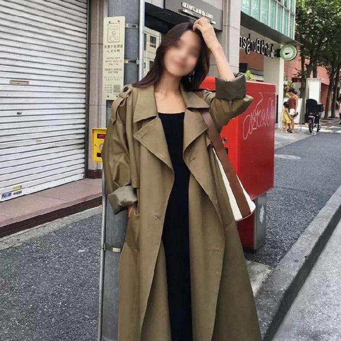 women  spring long light trench coat warm lapel female windbreaker long sleeve lady casual stock - iregalijoy.com