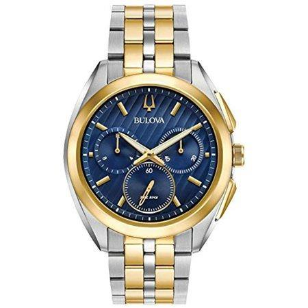 Bulova Men's CURV Blue Dial Chronograph Two-Tone Watch 98A159 - iregalijoy.com