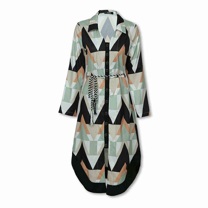 Women's Autumn Shirt Dress Lady Wave Print Long Sleeve V-neck Casual Loose Holiday Midi Dress Plus Size - iregalijoy.com