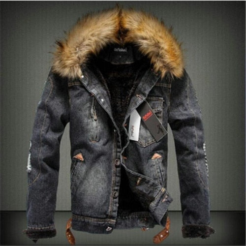 new men jeans jacket and coats denim thick warm winter outwear S-4XL LBZ21 - iregalijoy.com