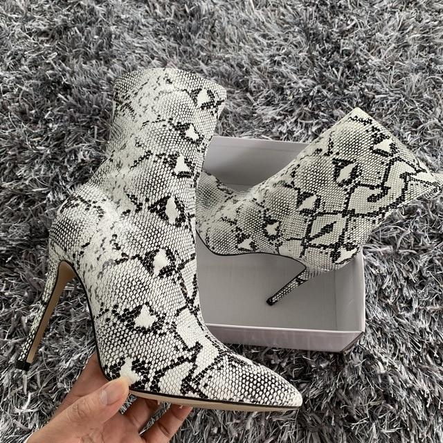 snake print Leather Ankle Boots 4inch High Heels Boots Women Winter Shoes Female Pointed Toe - iregalijoy.com