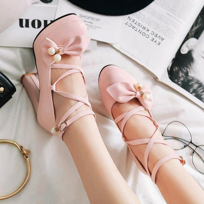 spring high platform square heels shoes woman party weeding dress shoes lovely women pink bowtie ankle strap pumps - iregalijoy.com