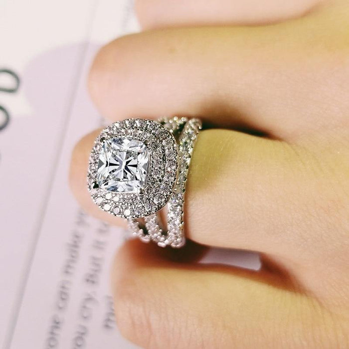 trendy luxury big 925 sterling silver engagement Ring for Women and ladys christmas gifts with cushion zirconia wedding R4898 - iregalijoy.com