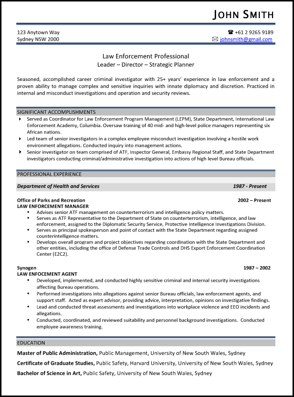 Resume writing samples australia