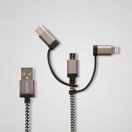 3-in-1 Braided 10 Ft <br>Charging Cord