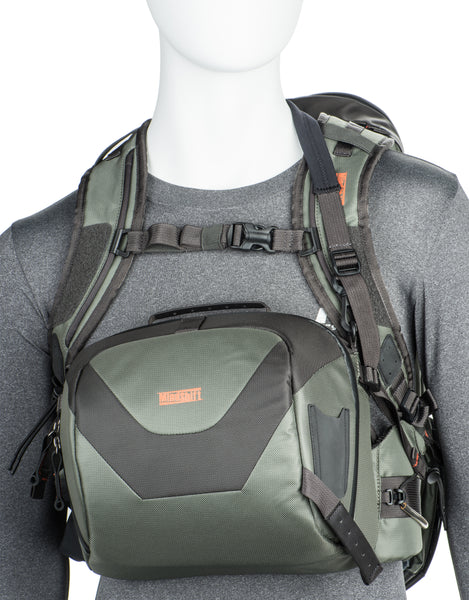 Integrated shoulder strap easily converts beltpack into a chest-pack for deep water wading
