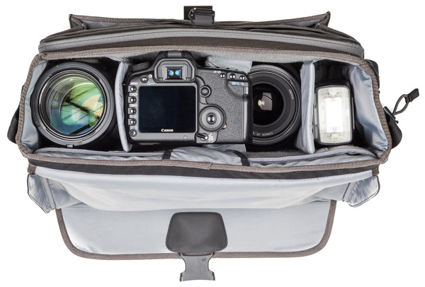 "Exposure 15: Fits one ungripped body with a 70–200mm f/2.8 attached, 2–5 extra lenses, flash, a 10"" tablet and a 15"" laptop."