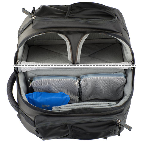 Three compartment system allows you to keep lenses attached providing the quickest way to access gear