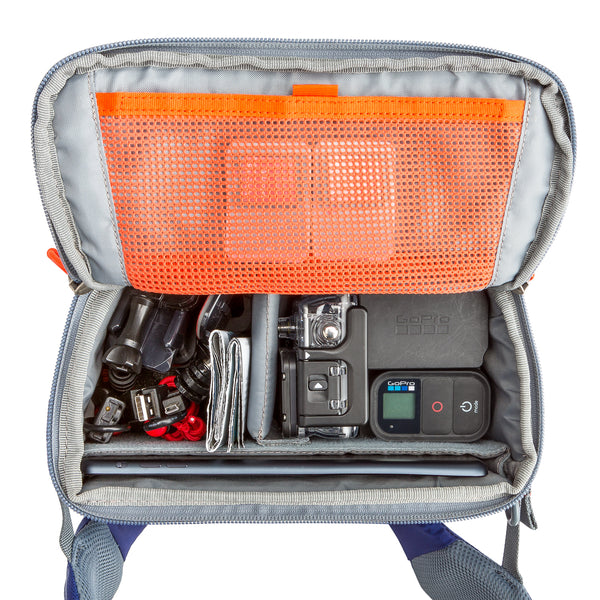 "Rotating beltpack for accessing GoPro essentials plus up to an 8"" tablet"