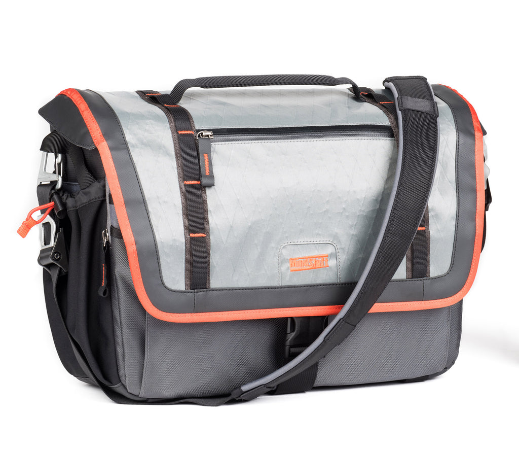 "The MindShift Exposure shoulder bag, shown in ""solar flare"" is a storm-resistant carrying solution"