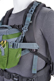 Weight-bearing pack mount straps (front harness) and integrated stabilizer straps