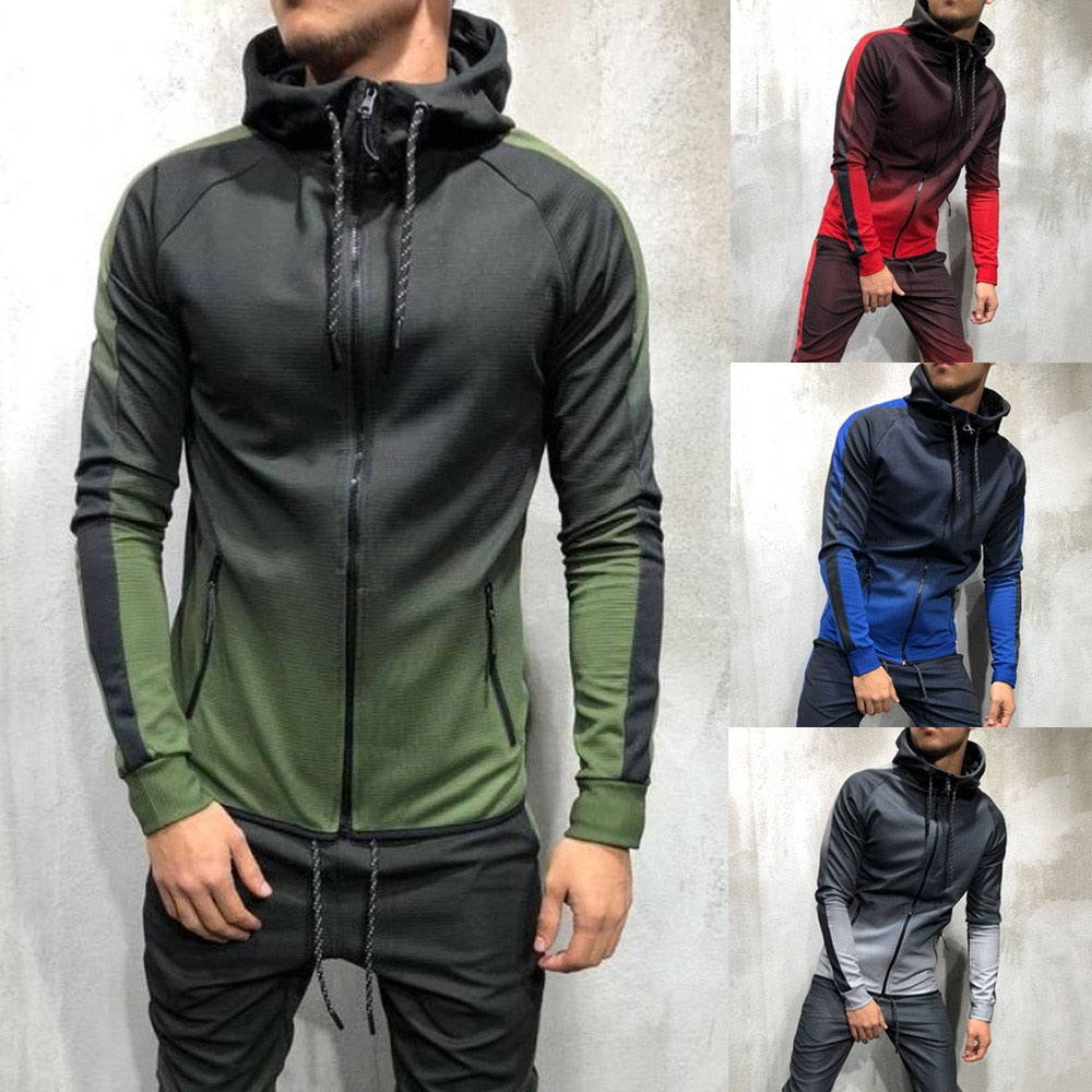 Men 2 Pieces Sweatsuit Zipper Tracksuit Sporting Clothes Printed Hoodies Jacket Pants