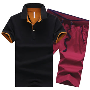 Men's 2 Piece Quality Cotton Polo Shirts and Elastic Waist Shorts Button Turn Down