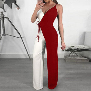 Women Wide Leg Jumpsuits Overall Spaghetti Strap Double Color Jumpsuit Romper
