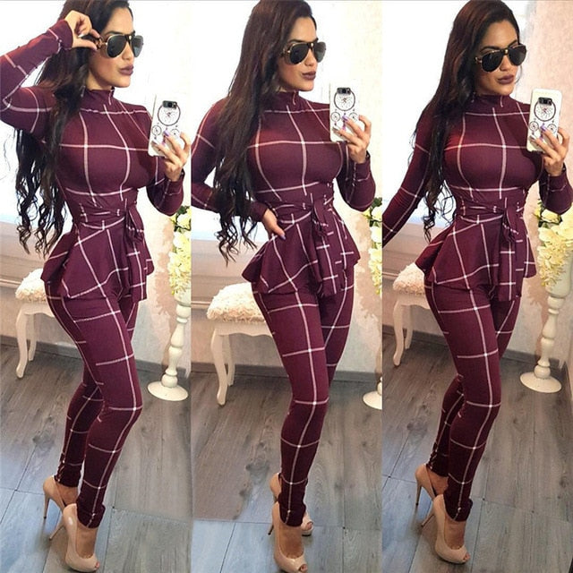 Women Turtleneck Long Sleeve Plaid Print Jumpsuit, One Piece, Casual Romper Catsuit Sashes