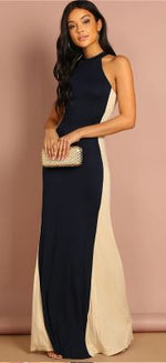 Women's maxi slim multicolor round neck sleeveless dress.