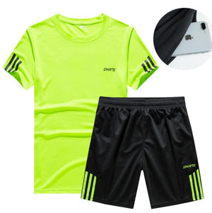Men's Brand 2 pieces Shirt and Shorts Sweat absorbing Sportswear