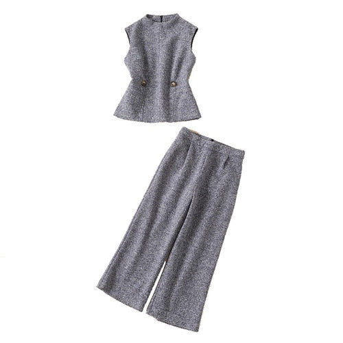 Victoria Beckham quality two piece grey tweed sleeveless tank top and pant