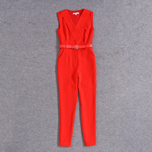 2018 Victoria Beckham Sleeveless Turn-Down Collar Solid Jumpsuit