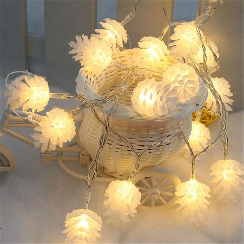 2020 Christmas & New Year Decor For Home Warm White Pine Cone String Light Lamp