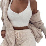 Women 2 Piece Set Fleece Plush Sleeve Hooded Cardigan Coat Outwear + Shorts
