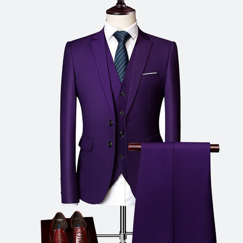 Men 3 Pieces Wedding Prom, Business, Working Suit Slim Fit Tuxedo Suits (Jacket+Pants+Vest)